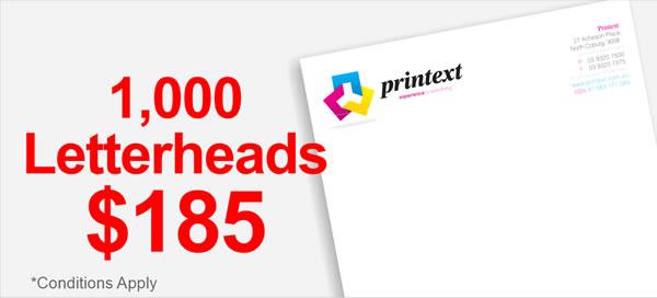 Printext | 1000 letterheads $185